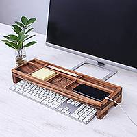 Wood desk organizer, 'Smarty Pants' - Hand Crafted Raintree Wood Desk Organizer