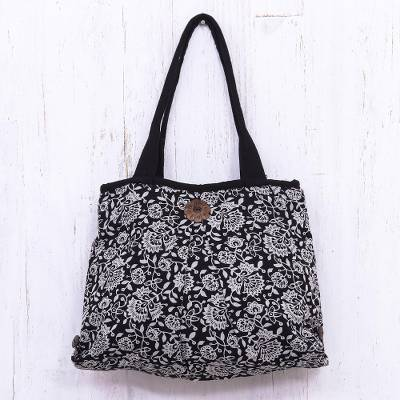 Cotton shoulder bag, 'Midnight Floral' - Cotton Zippered Tote Bag with Interior Pockets Black Floral