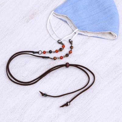 Beaded face mask lanyard, 'Smart Style in Brown' - Brown Faux Suede Face Mask Lanyard with Carnelian