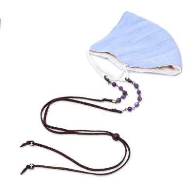 Beaded face mask lanyard, 'Smart Style in Purple' - Faux Brown Suede Face Mask Lanyard with Amethyst