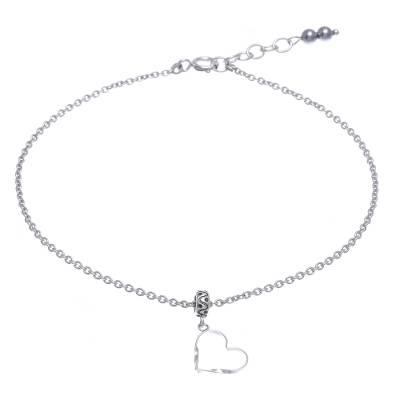 Thai Handmade Sterling Silver and Hematite Charm Anklet