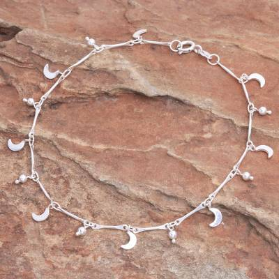 Sterling silver charm anklet, 'Moon Slice' - Thai Hand Crafted Sterling Silver Crescent Moon Charm Anklet