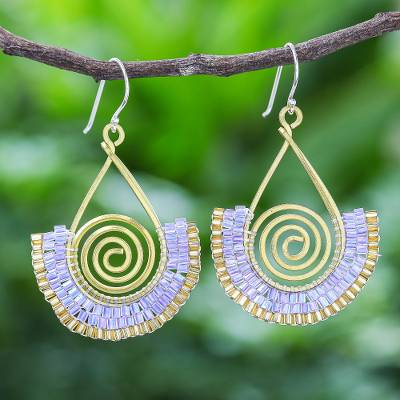 Glass bead and brass wire dangle earrings, 'Spiral Fan in Lavender' - Lavender and Gold Glass Bead Spiral Dangle Earrings