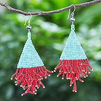 Cultured pearl and glass bead dangle earrings, 'Confetti' - Aqua and Red Glass Bead Dangle Earrings with Cultured Pearls