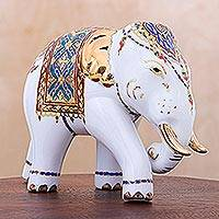 Benjarong porcelain figurine, 'Aristocratic Elephant' - Hand Painted Gilded Porcelain Elephant Figurine