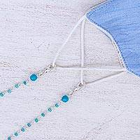 Silver-plated quartz face mask lanyard, 'Peaceful in Blue' - Quartz Silver-Plated Face Mask Lanyard