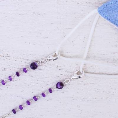 Silver-plated amethyst face mask lanyard, 'Peaceful in Purple' - Amethyst Silver-Plated Face Mask Lanyard