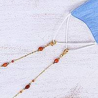 Gold-plated carnelian face mask lanyard, 'Halcyon in Orange' - Carnelian Gold-Plated Face Mask Lanyard