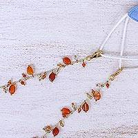 Gold-plated carnelian face mask lanyard, 'Fancy That in Orange' - Carnelian Gold-Plated Face Mask Lanyard