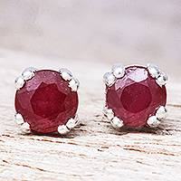 Ruby stud earrings, 'Juicy' - Faceted Round Ruby and Sterling Silver Stud Earrings