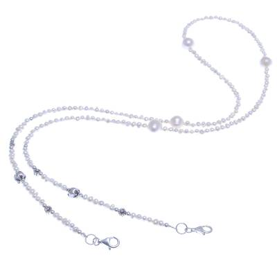 Cultured pearl face mask lanyard, 'Pure Pearl' - Cultured Pearl Face Mask Lanyard