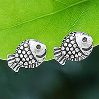 Sterling silver stud earrings, 'Joyful Fish' - Hand Made Sterling Silver Stud Fish Earrings