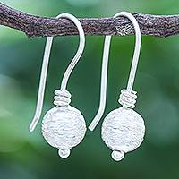 Sterling silver drop earrings, 'Sparkling Globe' - Hand Made Sterling Silver Drop Earrings