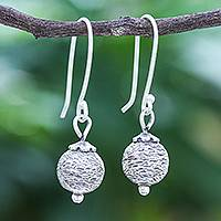 Sterling silver dangle earrings, 'Future Earth' - Artisan Made Sterling Silver Dangle Earrings
