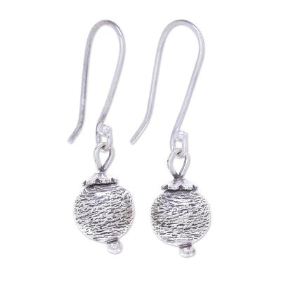 Sterling silver dangle earrings, 'Future Earth' - Artisan Made Sterling Silver Dangle Earrings