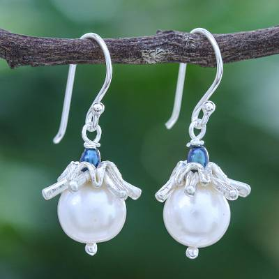 Cultured pearl dangle earrings, 'Angels of Joy' - Cultured Pearl and Sterling Silver Dangle Earrings