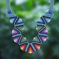 Macrame pendant necklace, 'Boho Morning in Blue'