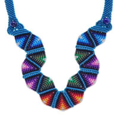 Macrame pendant necklace, 'Boho Morning in Blue' - Thai Hand Threaded Macrame Lapis Lazuli Beaded Necklace