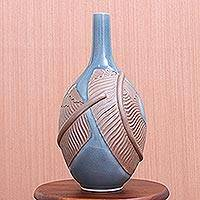 Celadon ceramic vase, 'Blue Banana' - Hand Crafted Celadon Ceramic Banana Leaf Vase