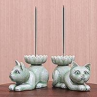 Celadon ceramic incense holders, 'Naughty Kittens' (pair) - Hand Crafted Celadon Ceramic Kitten Incense Holders (Pair)