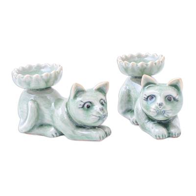 Hand Crafted Celadon Ceramic Kitten Incense Holders (Pair)