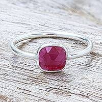 Sillimanite cocktail ring, 'Merry Moon' - Handmade Sterling Silver Sillimanite Cocktail Ring