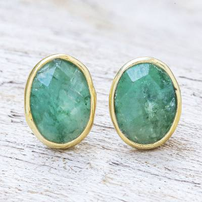 Gold plated sillimanite stud earrings, 'Peaceful Harbor' - Gold Plated Faceted Sillimanite Stud Earrings