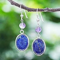 Lapis lazuli dangle earrings, 'Universe in Blue' - Lapis Lazuli and Amethyst Bead Dangle Earrings