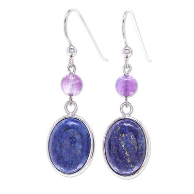 Lapis lazuli dangle earrings, 'Universe in Blue' - Lapis Lazuli and Amethyst Bead Dangle Earrings