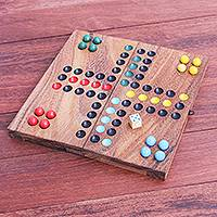 Folding wooden game, 'Ludo' - Handcrafted Folding Wood Ludo Game
