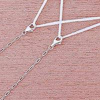 Sterling silver face mask lanyard, 'Carefree Days' - Sterling Silver Cable Chain Face Mask Lanyard