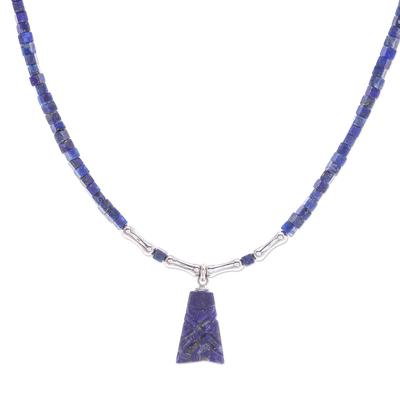 Lapis lazuli pendant necklace, 'Shrouded Origins' - Hand Made Sterling Silver and Lapis Lazuli Pendant Necklace