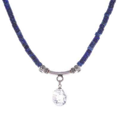 Quartz and lapis lazuli pendant necklace, 'Wild Moon' - Handmade Clear Quartz and Lapis Lazuli Pendant Necklace