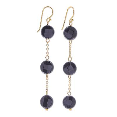 Handmade Gold Plated Onyx Gemstone Dangle Earrings
