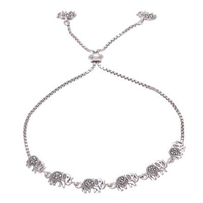 Marcasite pendant bracelet, 'March of the Pachyderm' - Hand Made Sterling Silver and Marcasite Pendant Bracelet