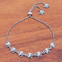 Marcasite pendant bracelet, 'Royal Pachyderm' - Sterling Silver and Marcasite Elephant Pendant Bracelet