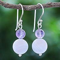Agate and amethyst dangle earrings, 'Violet Hour' - Hand Crafted Agate and Amethyst Dangle Earrings