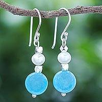 Quartz and cultured freshwater pearl dangle earrings, 'Ocean Charm' - Hand Made Quartz and Freshwater Pearl Dangle Earrings