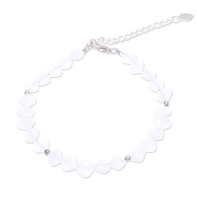Handmade Jade and Sterling Silver Beaded Bracelet