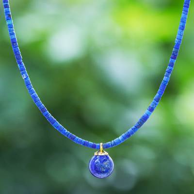 Gold-plated lapis lazuli pendant necklace, 'Before Dawn in Blue' - Hand Made Gold Plated Lapis Lazuli Pendant Necklace