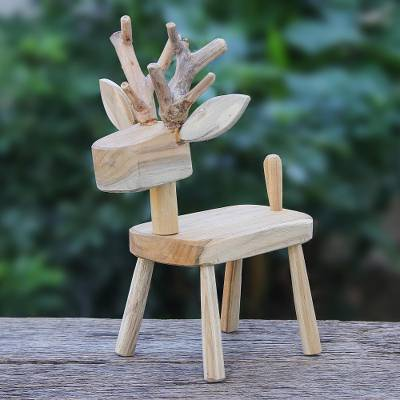 Wood statuette, 'Clever Deer' - Hand Crafted Santol Wood Deer Statuette from Thailand