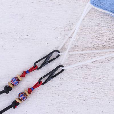 Beaded face mask lanyard, 'Breezy in Black' - Artisan Crafted Cotton Face Mask Lanyard from Thailand