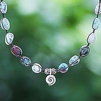 Macrame jasper pendant necklace, 'Spiraling Shores' - Hand Knotted Macrame Jasper Pendant Necklace