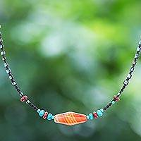 Macrame multi-gemstone pendant necklace, 'Carnelian Way' - Thai Hand Knotted Multi-Gemstone Pendant Necklace