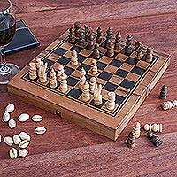 Travel chess and backgammon set, 'Two for One' - Handmade Raintree Wood Chess and Backgammon Game