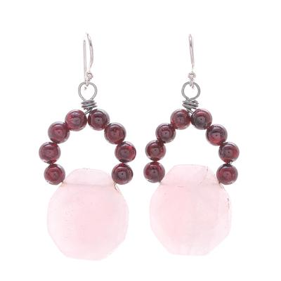 Handmade Rose Quartz and Garnet Dangle Earrings