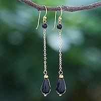 Gold-plated onyx dangle earrings, 'Night Teardrops' - Hand Made Gold-Plated Onyx Dangle Earrings from Thailand