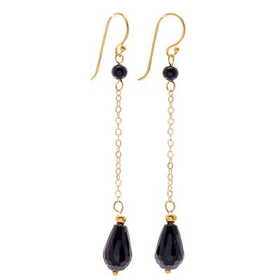 Hand Made Gold-Plated Onyx Dangle Earrings from Thailand