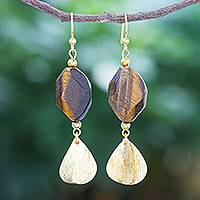 Gold-plated tiger's eye dangle earrings, 'Tiger Stripes' - Hand Threaded Gold Plated Tiger's Eye Dangle Earrings