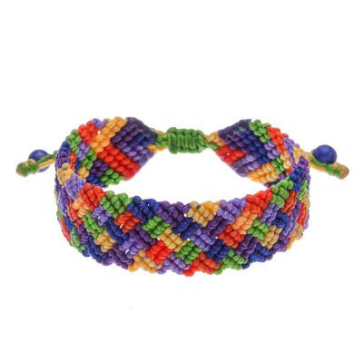Hand Made Lapis Lazuli Bead and Macrame Rainbow Bracelet